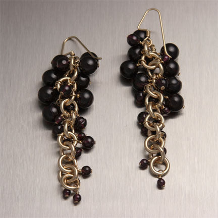 Handmade Garnet 14K Gold Filled Chainmail Earrings