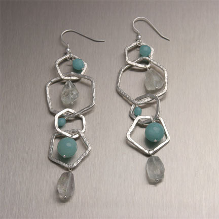 Hammered Fine Silver Earrings with Aquamarine