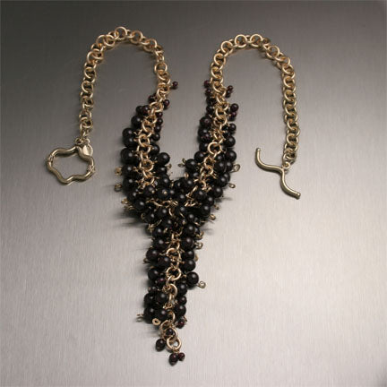 Garnet 14K Gold Filled Chainmail Necklace  - Handmade Jewelry