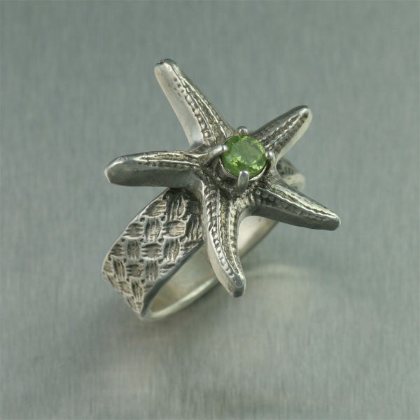 Sterling Silver Starfish Ring with Peridot