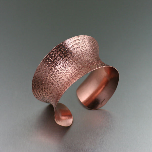 Texturized Anticlastic Copper Cuff Bracelet by San Francisco copper jewelry designer John S Brana