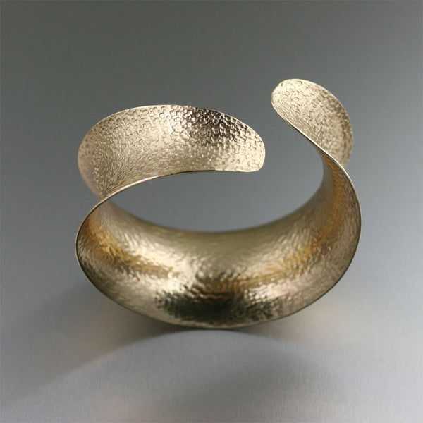 Texturized Nu Gold Anticlastic Bangle Bracelet - Front