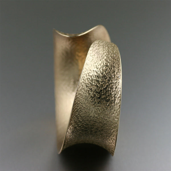 Texturized Nu Gold Brass Anticlastic Bangle Bracelet - Side View