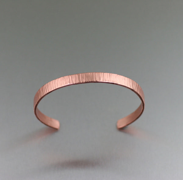 Chased Copper Cuff Bracelet from John S Brana Handmade Jewelry - Top of Cuff