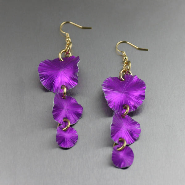 Three Tiered Violet Anodized Large Lily Pad Earrings - Anodized Aluminum Jewelry by John S Brana