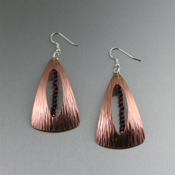 Chased Copper Earrings with Garnets