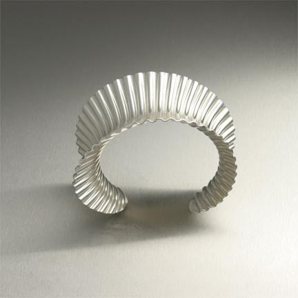 Corrugated Anticlastic Sterling Silver Cuff