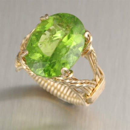 14K Gold Wire Wrapped Peridot Cocktail Ring