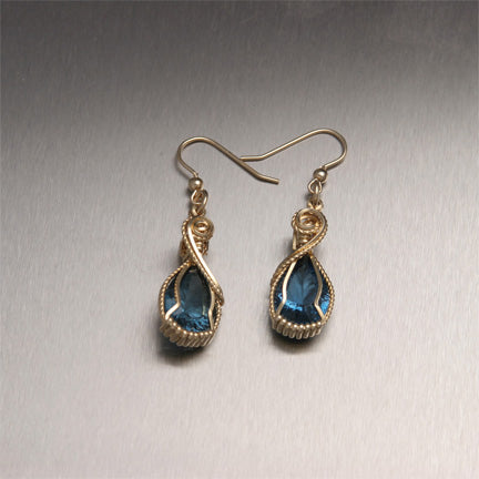 London Blue Topaz 14K Gold Wire Wrapped Gemstone Earrings