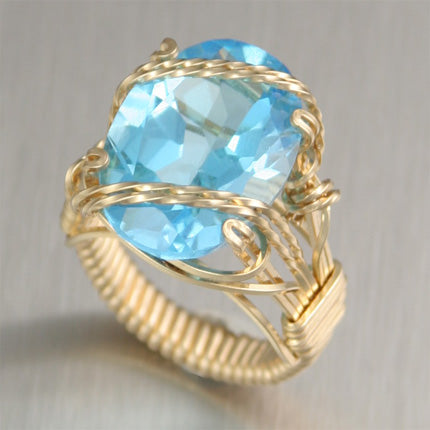 14K Gold Wire Wrapped Swiss Blue Topaz Cocktail Ring