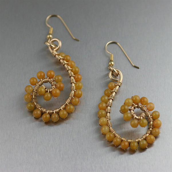 Yellow Jade Wire Wrapped 14K Gold-filled Earrings