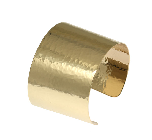 1 3/4 Inch Wide Hammered 14K Gold-filled Cuff Bracelet