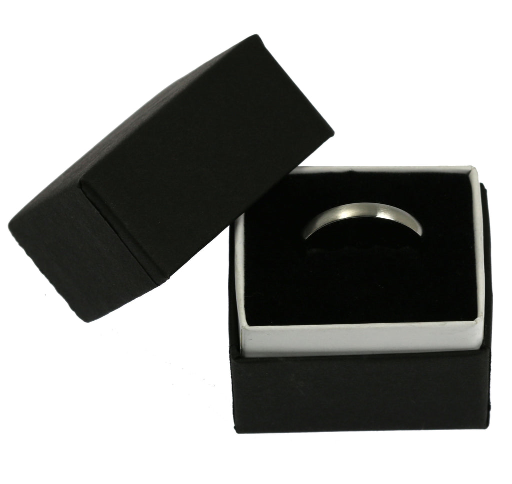 3mm Brushed Comfort Fit Stainless Steel Men's Ring - Ring Box