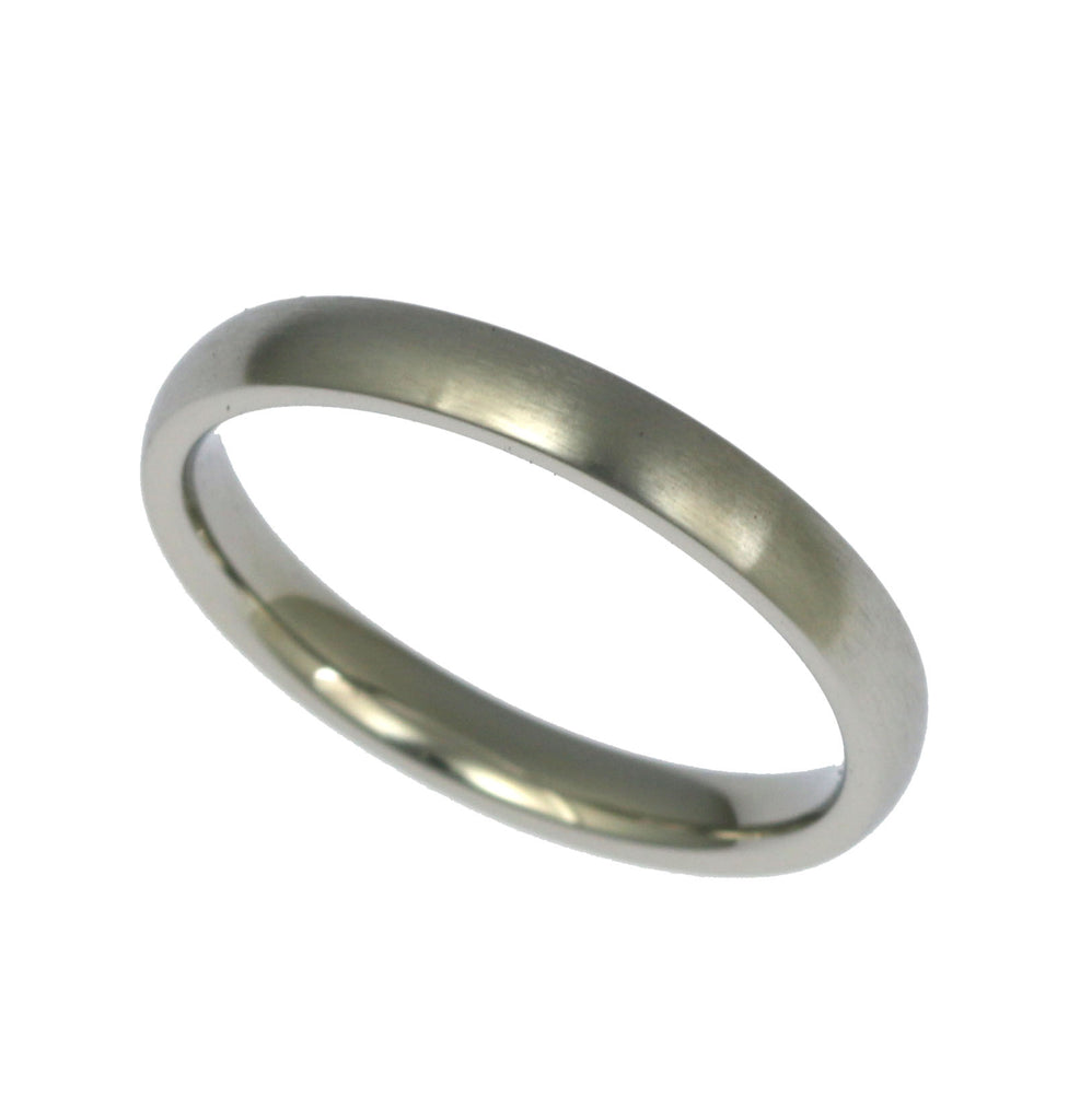3mm Brushed Comfort Fit Stainless Steel Men's Ring - Right Side
