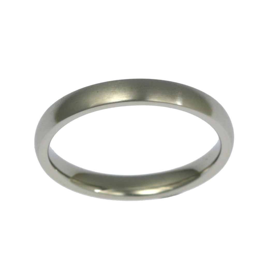 3mm Brushed Comfort Fit Stainless Steel Men's Ring - Top View