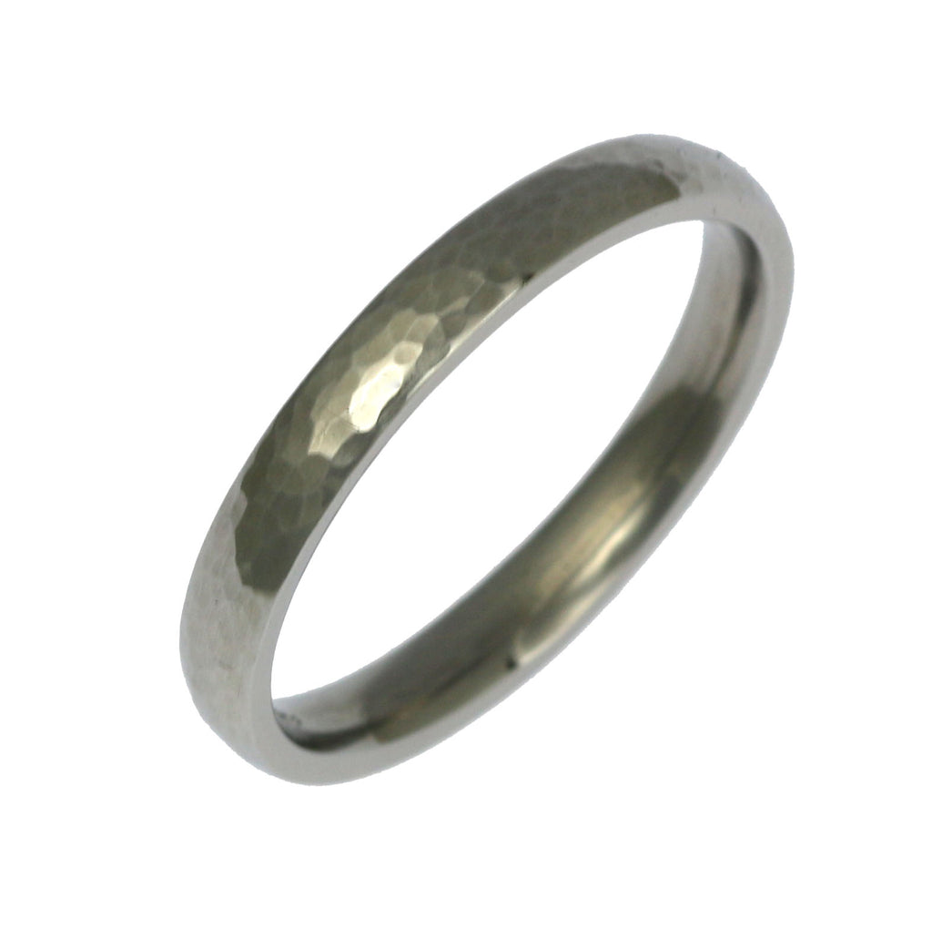 3mm Hammered Domed Stainless Steel Men's Ring