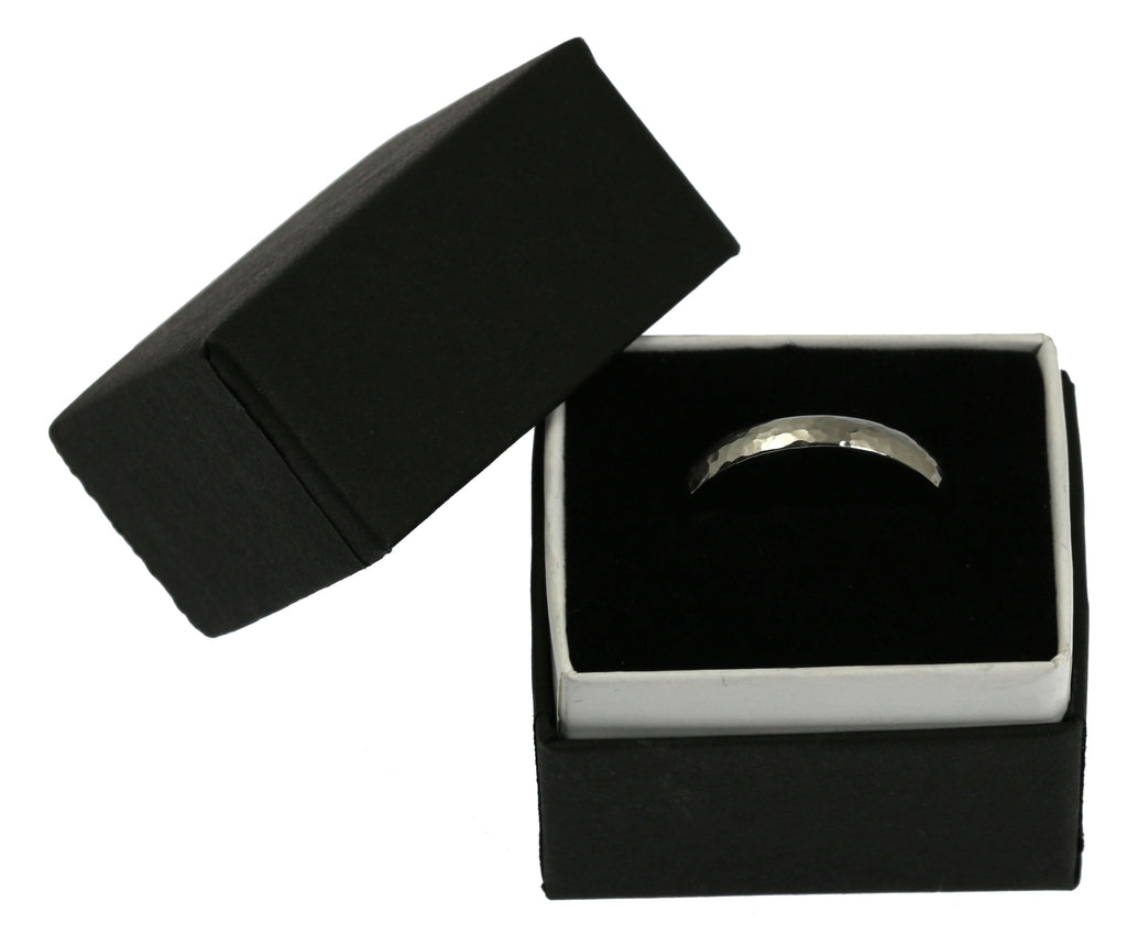 3mm Hammered Domed Stainless Steel Men's Ring - In Gift Box