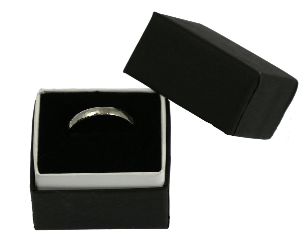 3mm Hammered Domed Stainless Steel Men's Ring - In Gift Box - Image 2
