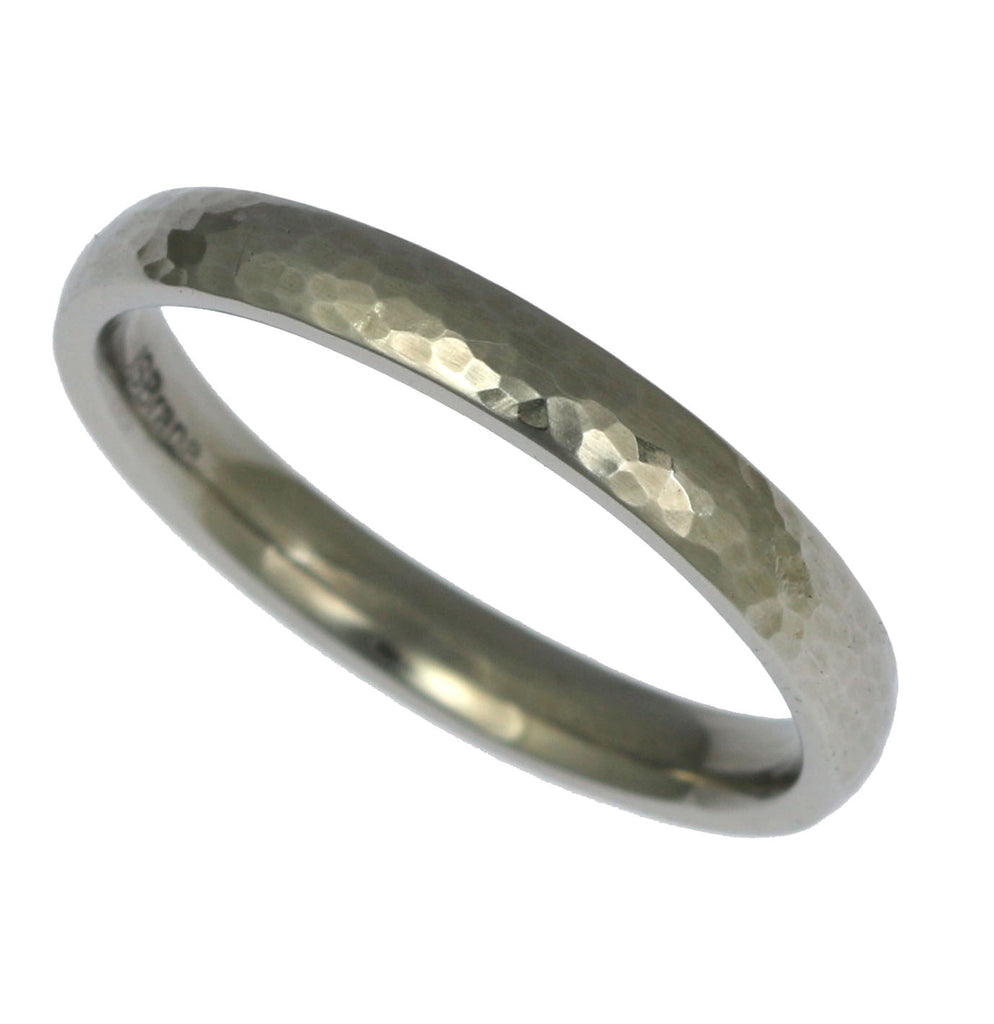 3mm Hammered Domed Stainless Steel Men's Ring - Right View