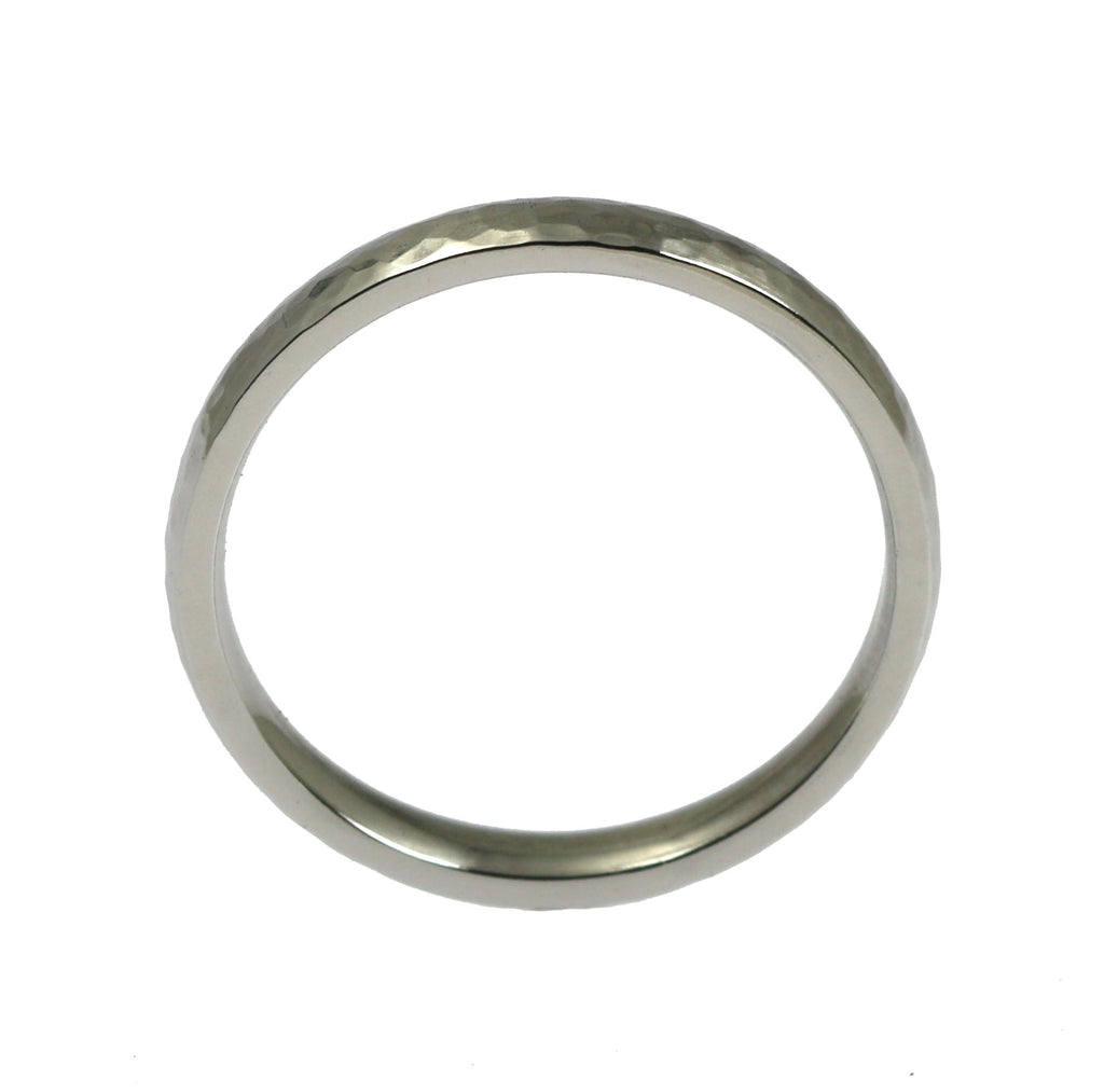 3mm Hammered Domed Stainless Steel Men's Ring - Shank Thickness