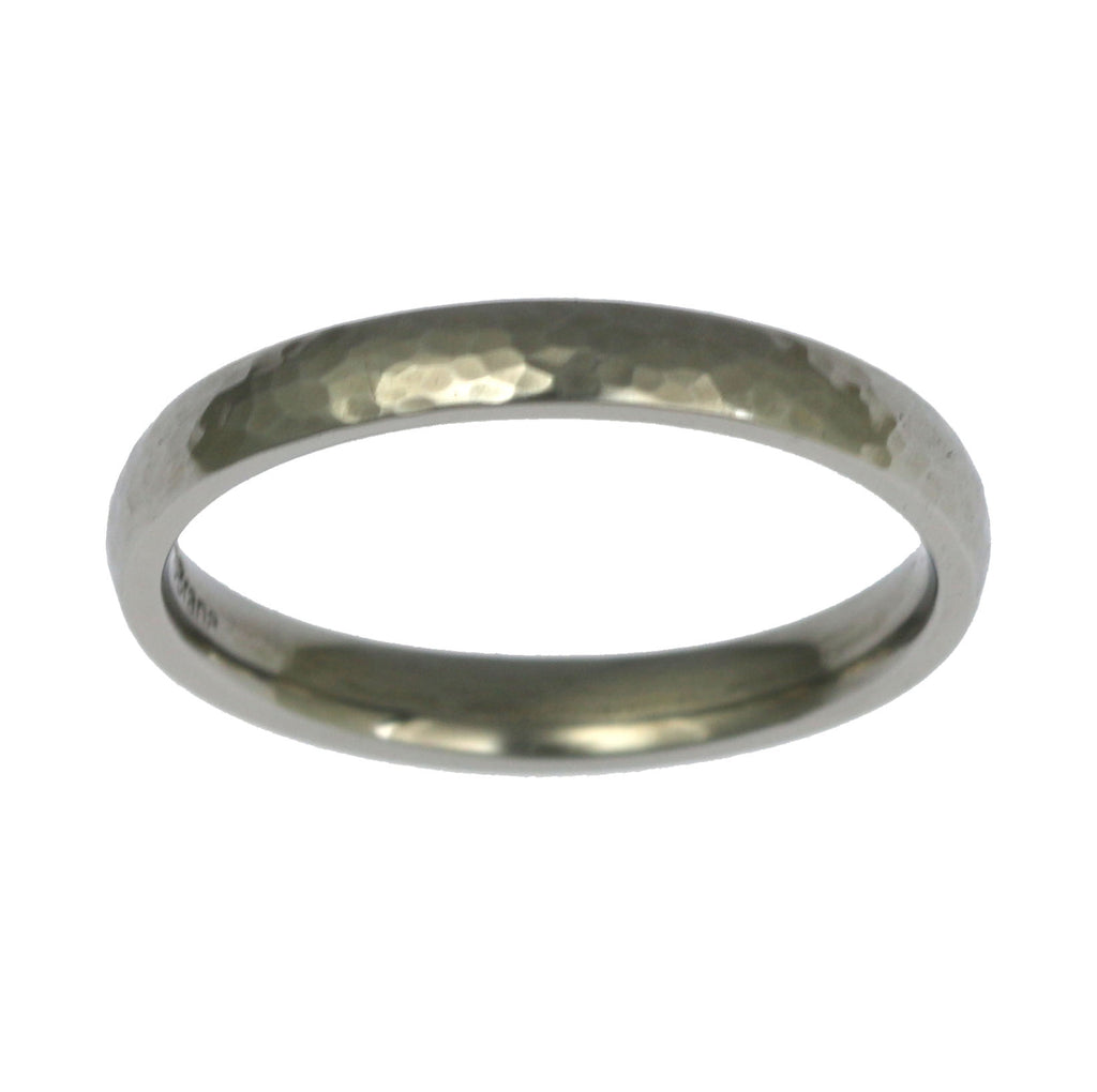 3mm Hammered Domed Stainless Steel Men's Ring - Top View
