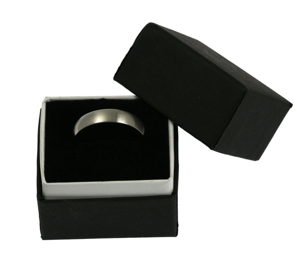 5mm Brushed Comfort Fit Stainless Steel Men's Ring - Packaging