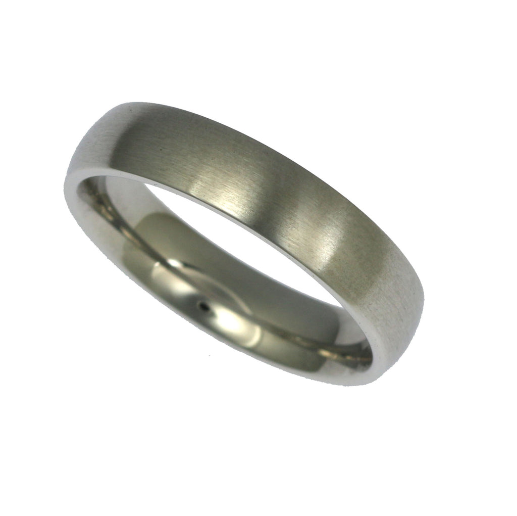 5mm Brushed Comfort Fit Stainless Steel Men's Ring - Right View