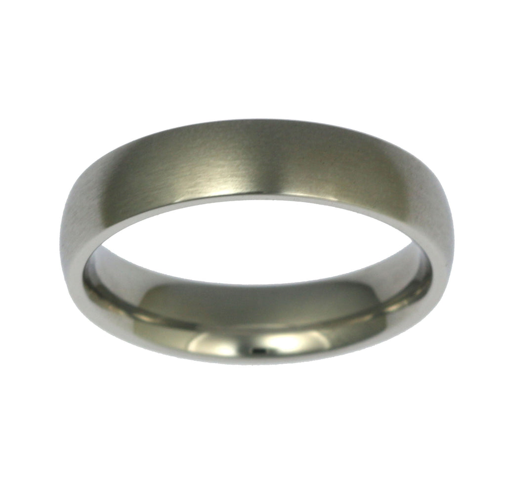 5mm Brushed Comfort Fit Stainless Steel Men's Ring - Top View
