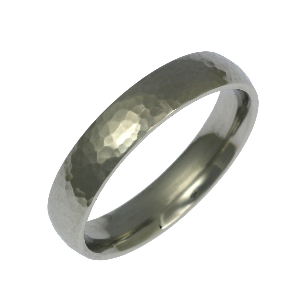5mm Hammered Comfort Fit Stainless Steel Men's Ring