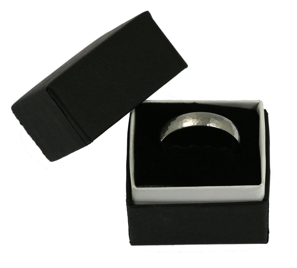 5mm Hammered Comfort Fit Stainless Steel Men's Ring - Gift Box