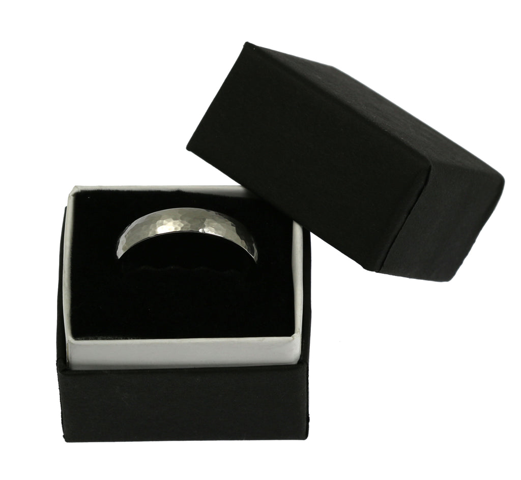 5mm Hammered Comfort Fit Stainless Steel Men's Ring - Packaging