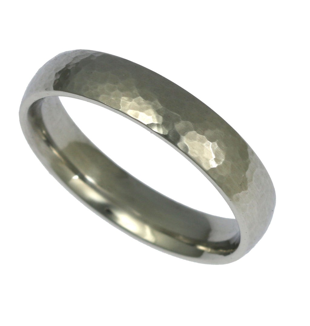 5mm Hammered Comfort Fit Stainless Steel Men's Ring - Right View