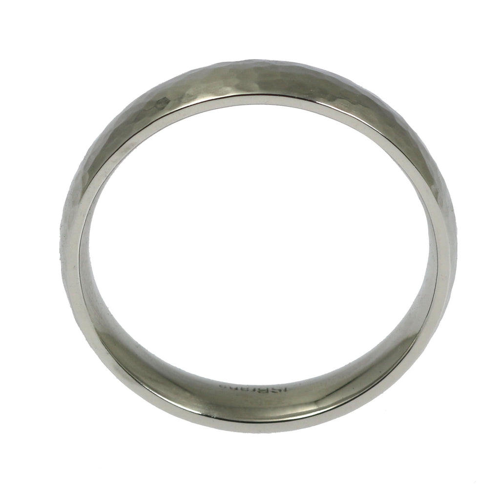 5mm Hammered Comfort Fit Stainless Steel Men's Ring - Shank Thickness