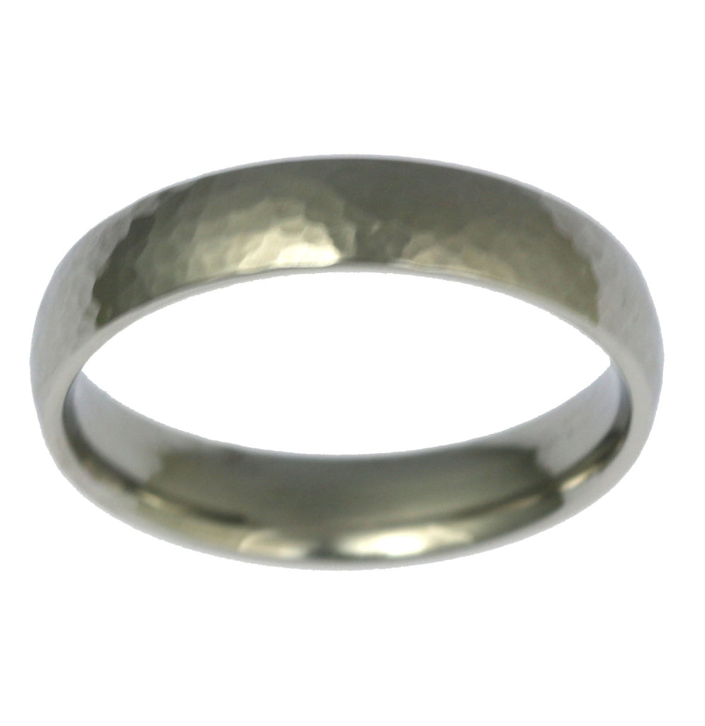 5mm Hammered Comfort Fit Stainless Steel Men's Ring - Top View