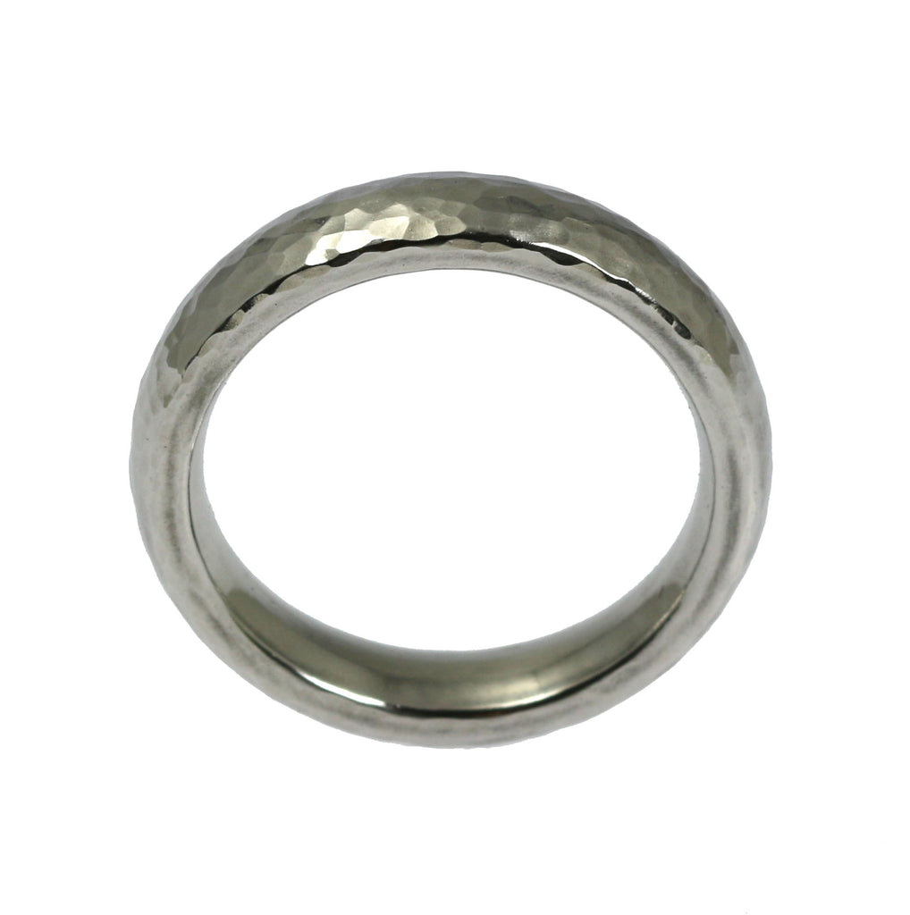 5mm Hammered Domed Stainless Steel Men's Ring
