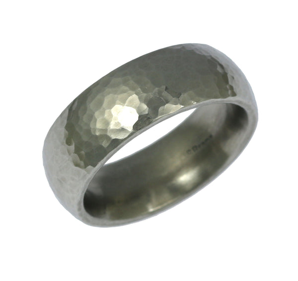 7mm Hammered Domed Stainless Steel Men's Ring