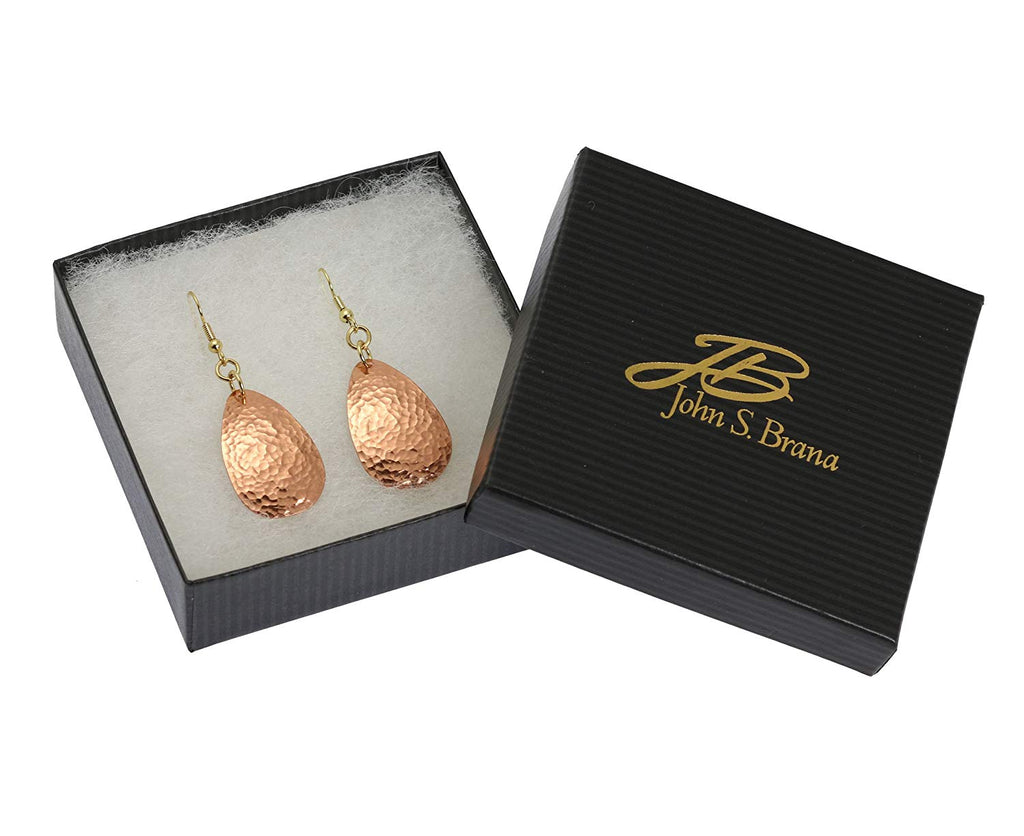 Hammered Copper Medium Tear Drop Earrings