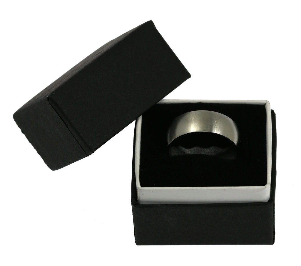 8mm Brushed Comfort Fit Stainless Steel Men's Ring - Gift Box