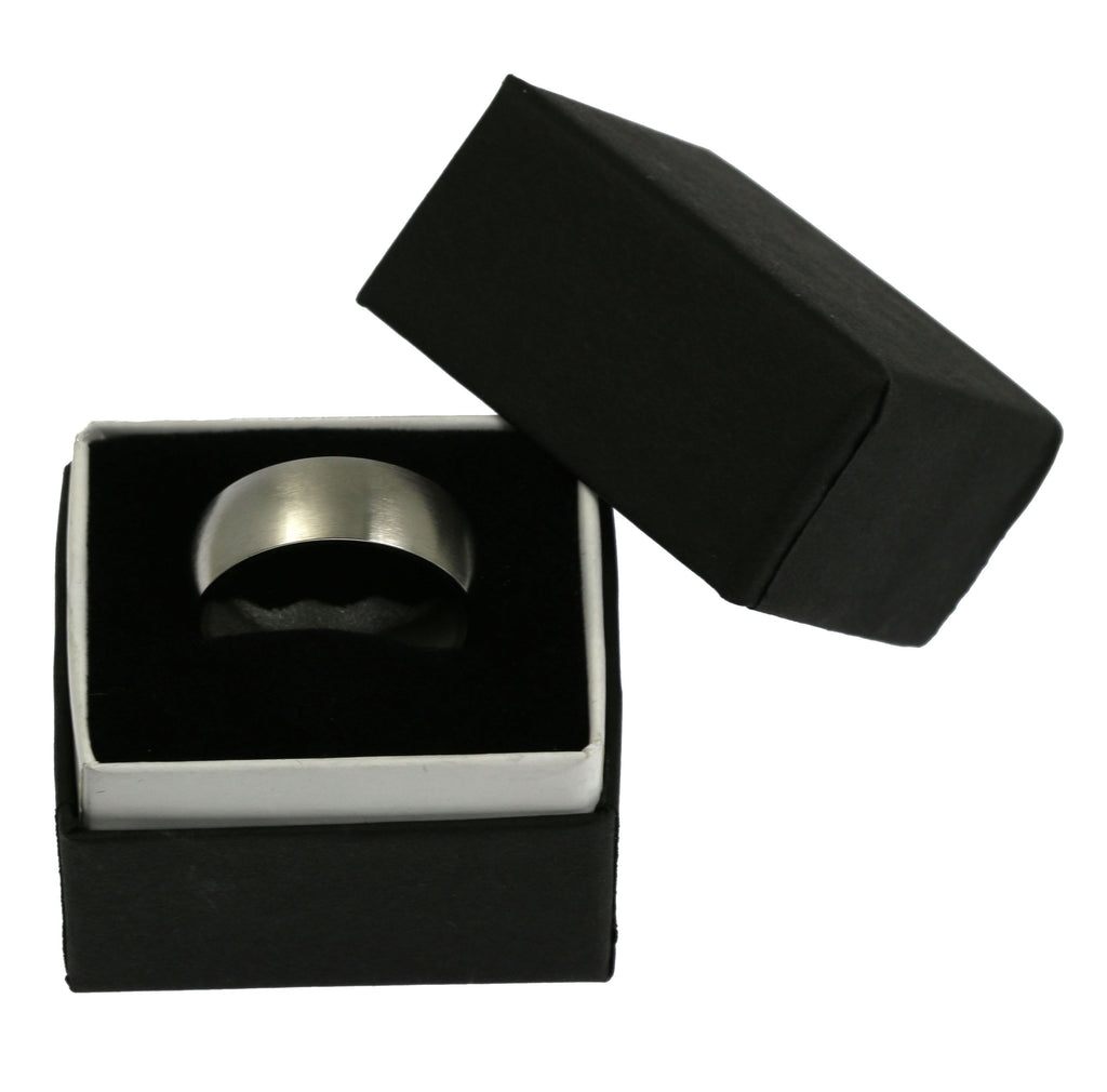 8mm Brushed Comfort Fit Stainless Steel Men's Ring - Packaging