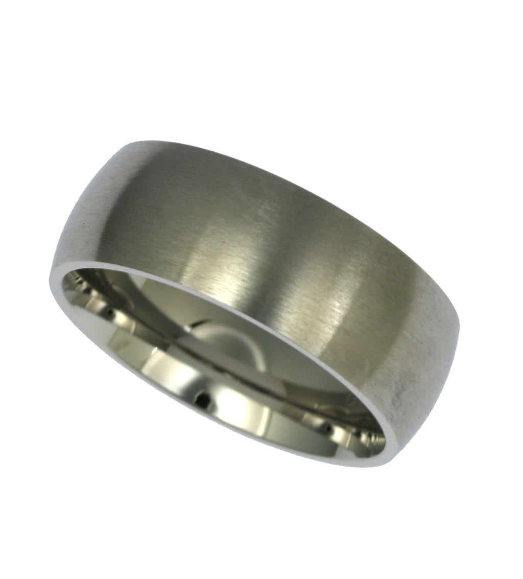 8mm Brushed Comfort Fit Stainless Steel Men's Ring - Right Side View