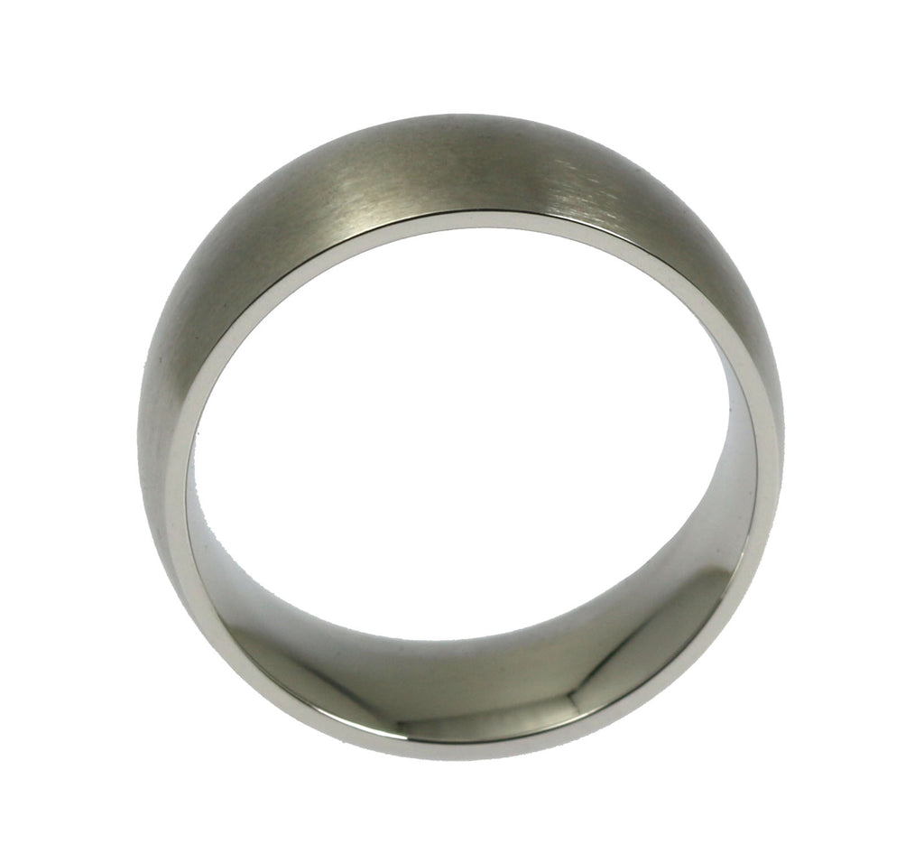 8mm Brushed Comfort Fit Stainless Steel Men's Ring - Side View