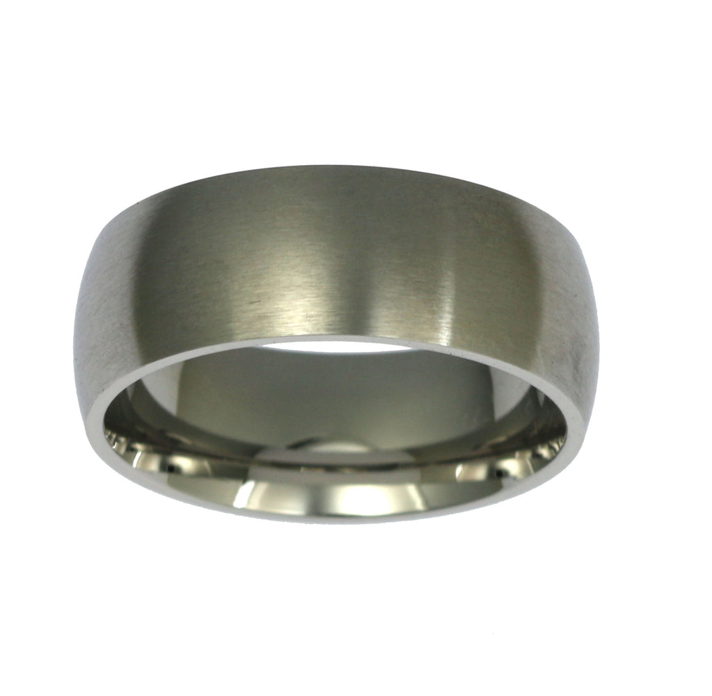 8mm Brushed Comfort Fit Stainless Steel Men's Ring - Top View
