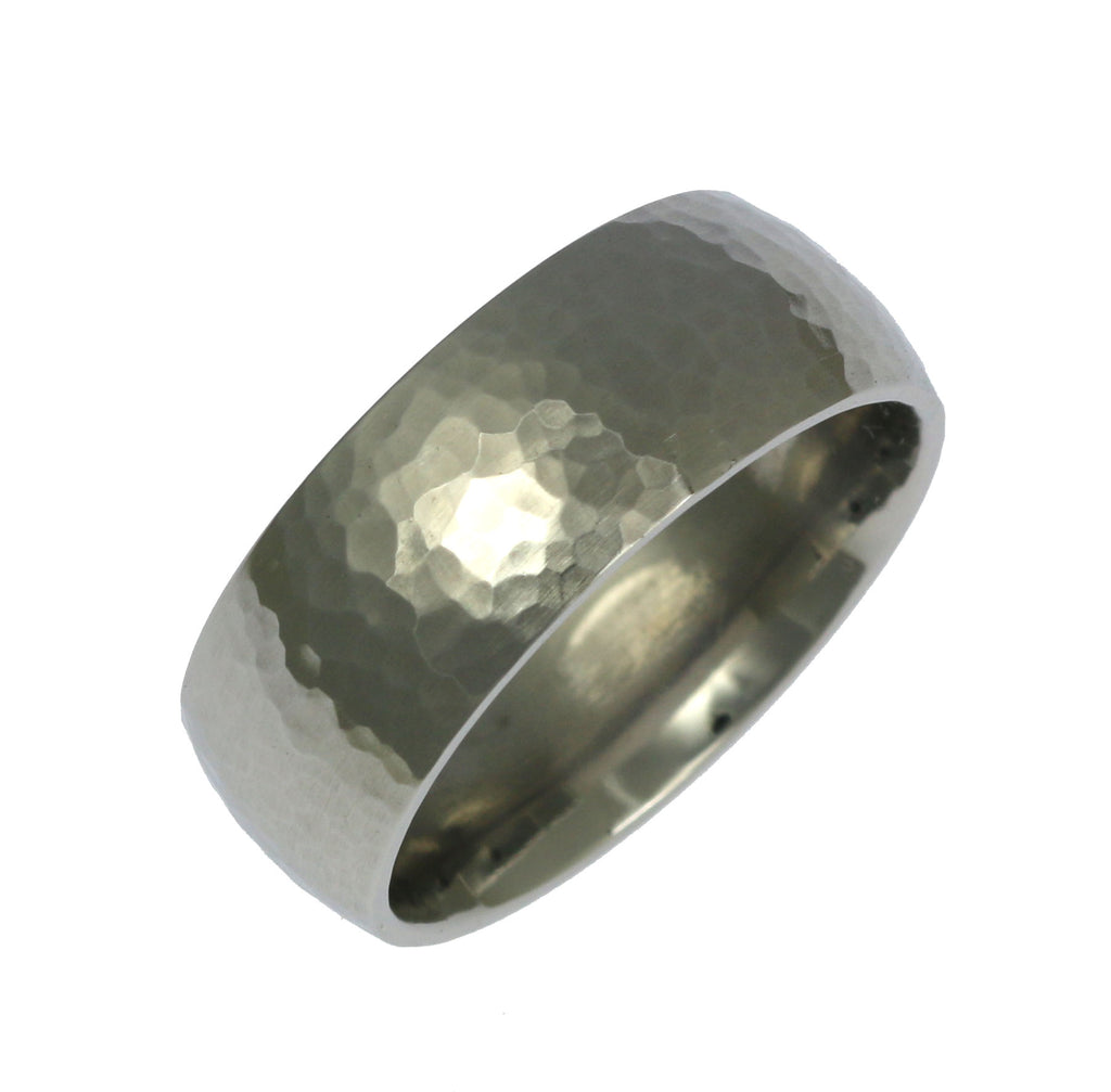 8mm Hammered Comfort Fit Stainless Steel Men's Ring
