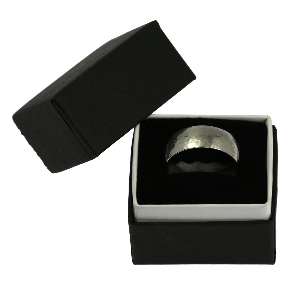 8mm Hammered Comfort Fit Stainless Steel Men's Ring - Gift Box