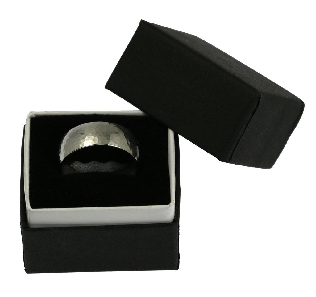 8mm Hammered Comfort Fit Stainless Steel Men's Ring - Packaging