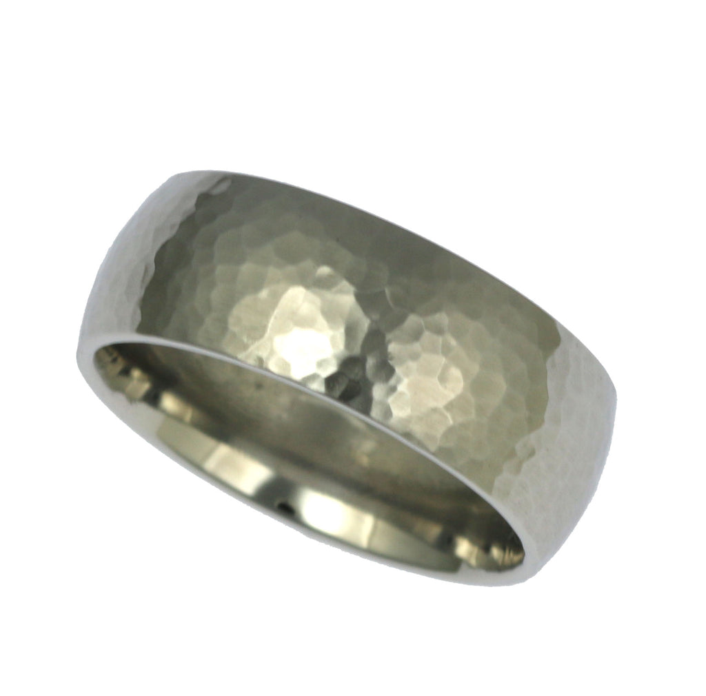 8mm Hammered Comfort Fit Stainless Steel Men's Ring - Right Side View