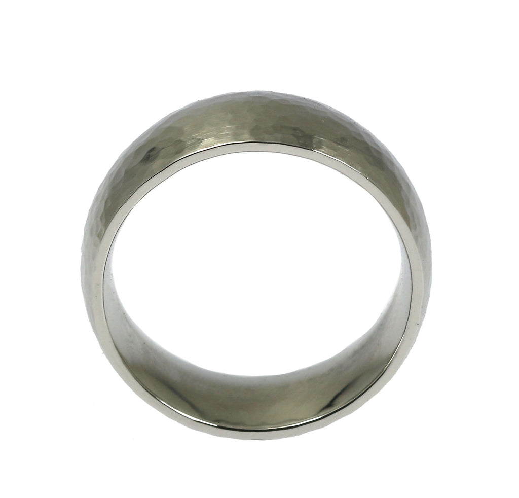 8mm Hammered Comfort Fit Stainless Steel Men's Ring - Shank Thickness
