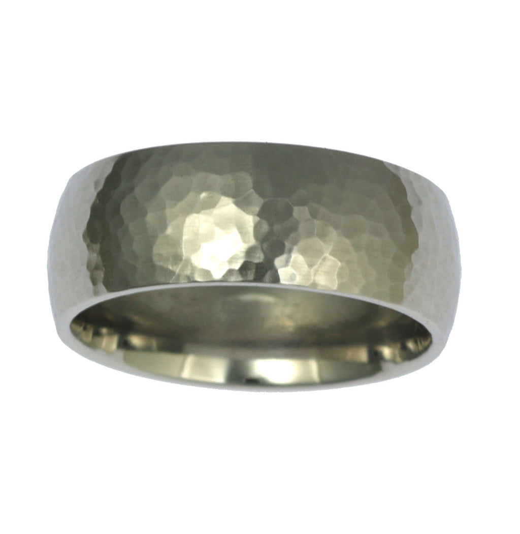 8mm Hammered Comfort Fit Stainless Steel Men's Ring - Top View