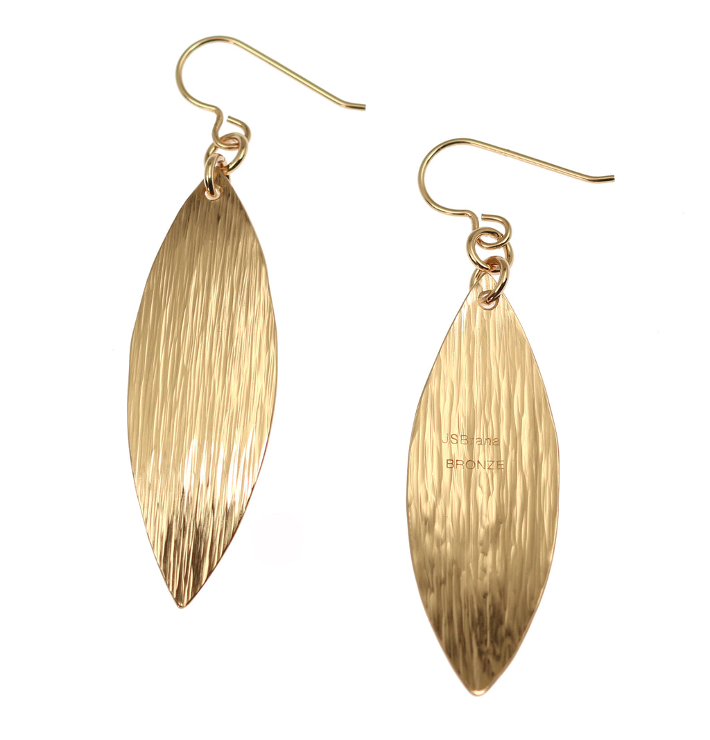 Bronze Bark Leaf Drop Earrings