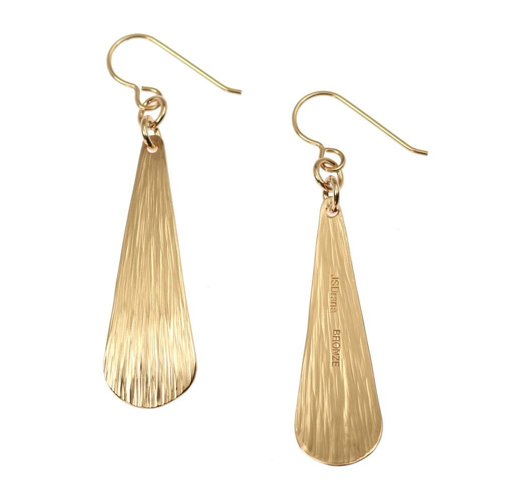Bronze Bark Long Teardrop Earrings